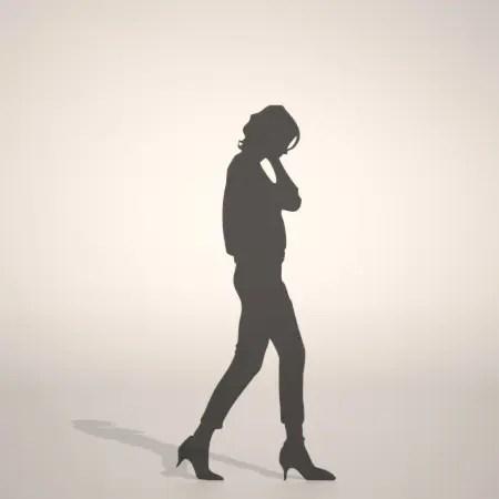 formZ 3D シルエット silhouette 女性 woman female lady 歩く walk パンプス pumps