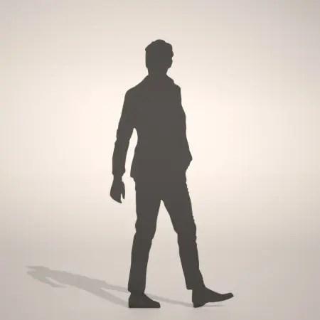 formZ 3D silhouette man ポケットに手を入れて立つジャケットを着た男性のシルエット