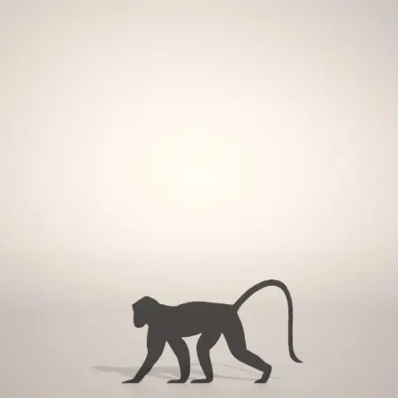 formZ 3D シルエット silhouette 動物 animal 猿 サル さる モンキー monkey 申