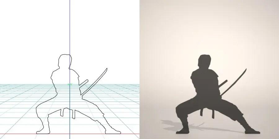 フリー素材 formZ 3D silhouette man ninja 日本刀を構える忍者のシルエット