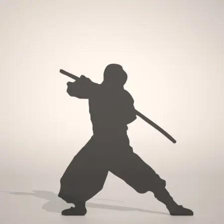 formZ 3D silhouette man ninja 鞘に入った日本刀を構える忍者のシルエット