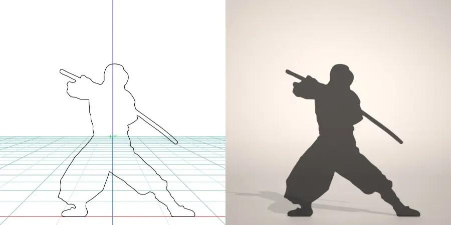 フリー素材 formZ 3D silhouette man ninja 鞘に入った日本刀を構える忍者のシルエット