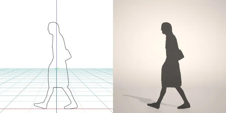 フリー素材 formZ 3D silhouette woman female lady skirt 肩掛け鞄 shoulder bag カバン ショルダーバッグを肩にかけて歩くスカートを穿いた女性のシルエット