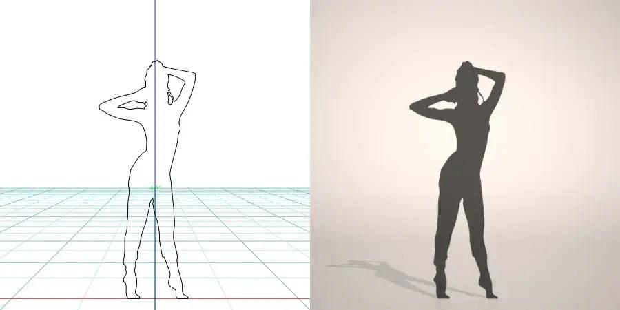 フリー素材 formZ 3D silhouette woman female lady gym フィットネス fitness stretch 運動 エクセサイズ exercise つま先で立つ女性のシルエット