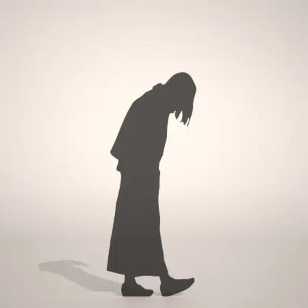 formZ 3D silhouette woman female lady うつむく 俯く うつむいて歩く女性のシルエット