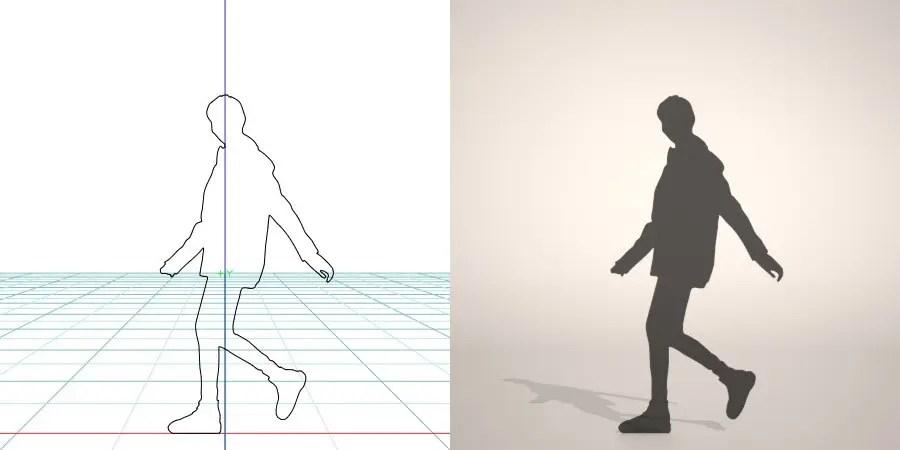フリー素材 formZ 3D silhouette woman female lady raincoat 雨合羽を着た女性のシルエット