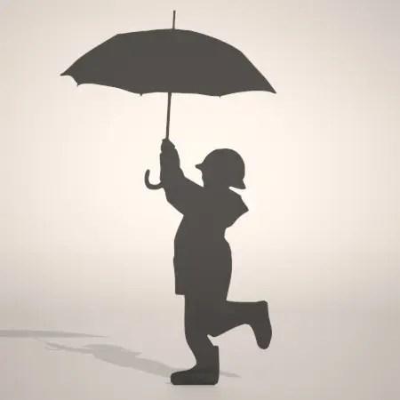 無料 商用可能 フリー素材 formZ 3D silhouette 子供 child 雨合羽 カッパ umbrella 雨具を着て傘をさす子供のシルエット