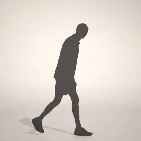 無料 商用可能 フリー素材 formZ 3D silhouette man ハーフパンツ shorts 短パンを穿いた男性のシルエット
