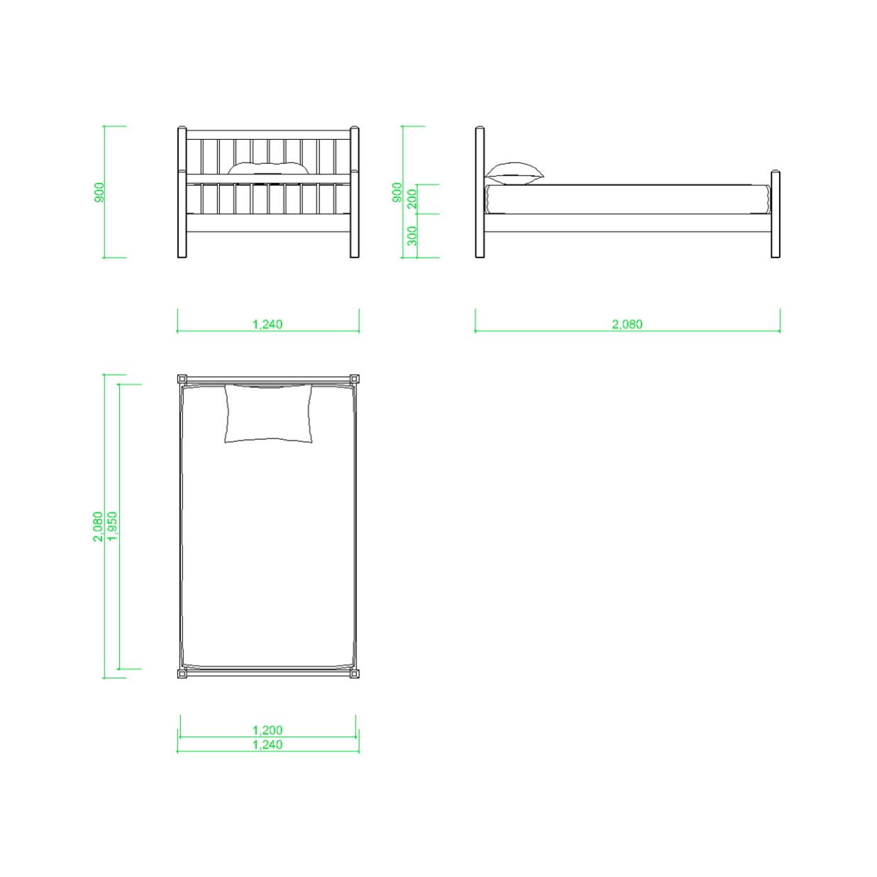 セミダブルサイズのベッドの2DCAD部品,無料,商用可能,フリー素材,フリーデータ,AUTOCAD,DWG,DXF,インテリア,interior,家具,furniture,bed,semi double