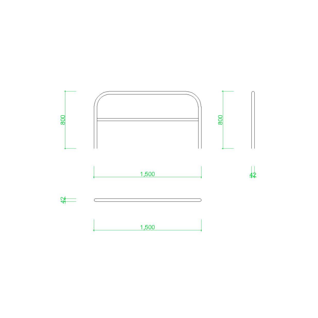 ガードパイプ(1.5m)の2DCAD部品,無料,商用可能,フリー素材,フリーデータ,AUTOCAD,DWG,DXF,道路,road,車両用防護柵,ガードフェンス,guard pipe,fence