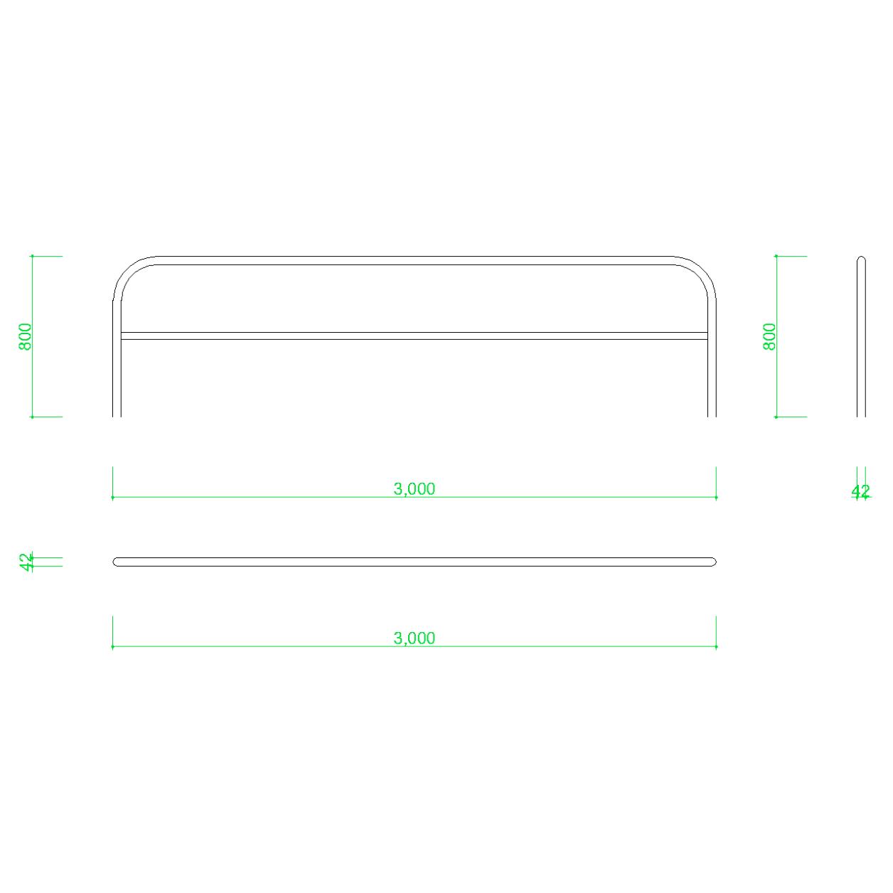 ガードパイプ(3m)の2DCAD部品,無料,商用可能,フリー素材,フリーデータ,AUTOCAD,DWG,DXF,道路,road,車両用防護柵,ガードフェンス,guard pipe,fence