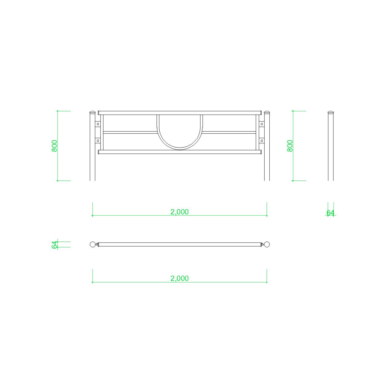 ガードパイプ(2m)の2DCAD部品,無料,商用可能,フリー素材,フリーデータ,AUTOCAD,DWG,DXF,道路,road,車両用防護柵,ガードフェンス,guard pipe,fence
