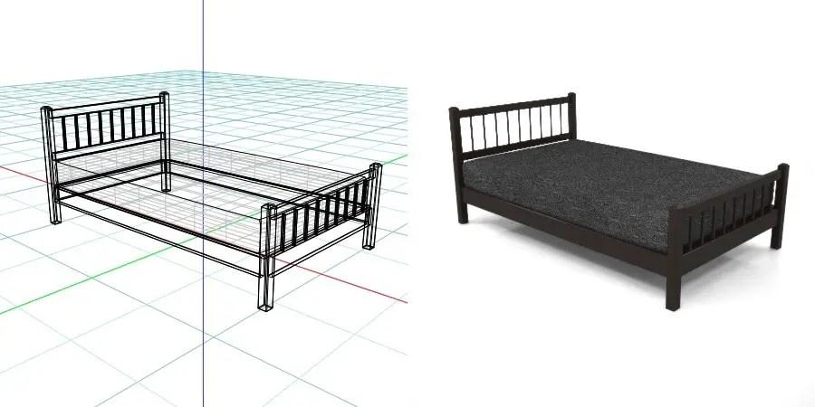 黒い セミダブルサイズのベッド,無料,商用可能,フリー素材,formZ,3D,インテリア,interior,家具,furniture,bed,Semi double