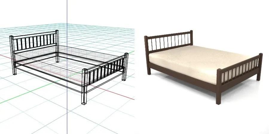 茶色の ダブルサイズのベッド,無料,商用可能,フリー素材,formZ,3D,インテリア,interior,家具,furniture,bed,double