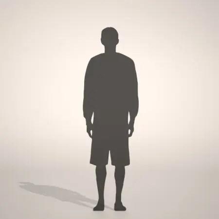 無料,商用可能,フリー素材,formZ,3D,silhouette,man,短パンを穿いた男性のシルエット,ハーフパンツ,shorts