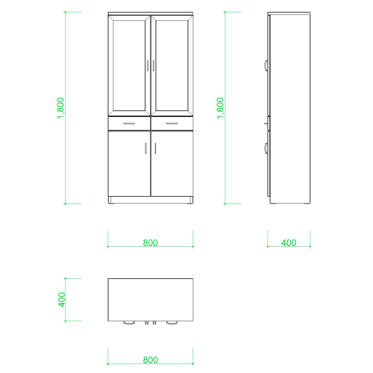 食器棚の2DCAD部品丨インテリア 家具 寸法丨無料 商用可能 フリー素材 フリーデータ AUTOCAD DWG DXF