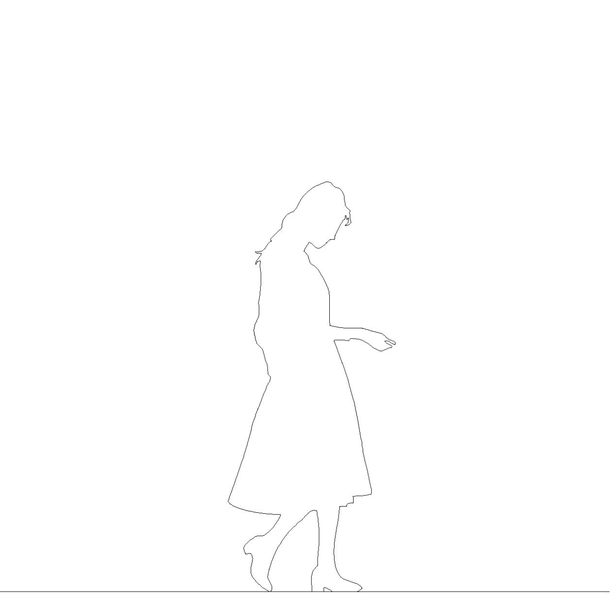 スカートを穿いた女性の2DCAD部品丨シルエット 人間 女性丨無料 商用可能 フリー素材 フリーデータ AUTOCAD DWG DXF