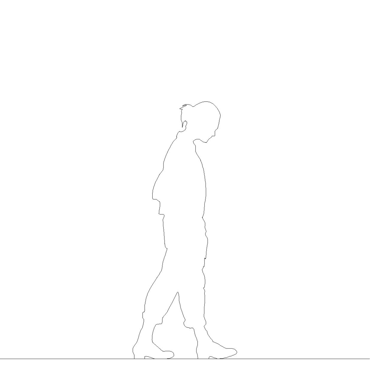 ポケットに手を入れて歩く 女性の2DCAD部品丨シルエット 人間 女性丨無料 商用可能 フリー素材 フリーデータ AUTOCAD DWG DXF