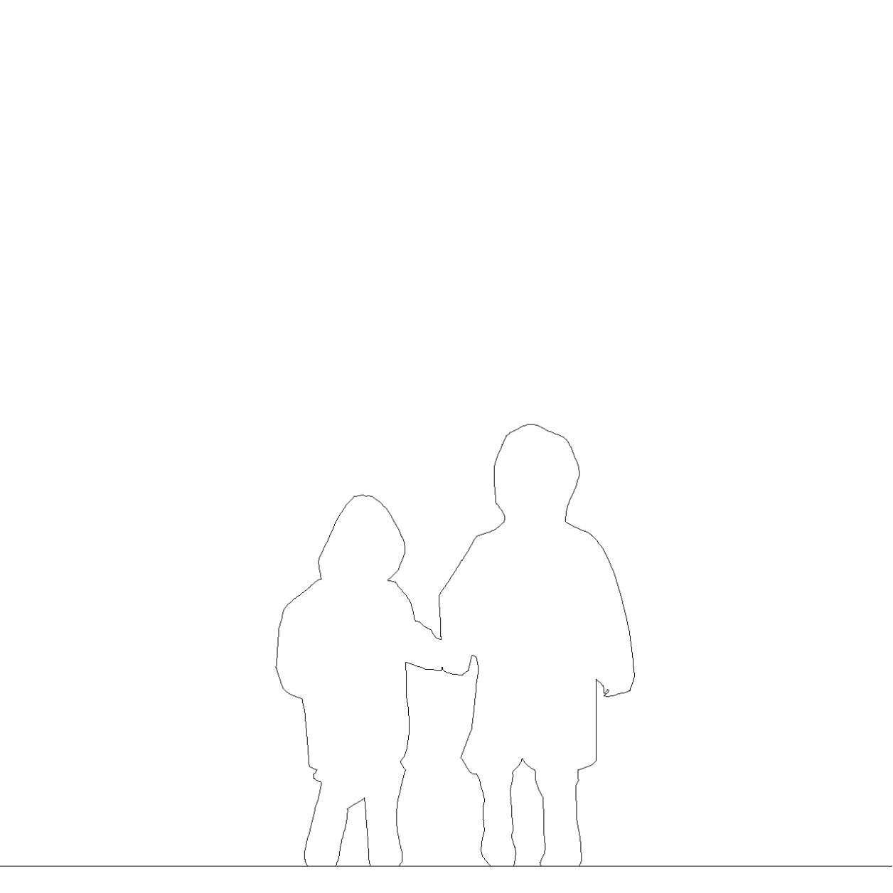 雨具を着て 手をつないで歩く幼い兄弟の2DCAD部品丨シルエット 人間 子供丨無料 商用可能 フリー素材 フリーデータ丨データ形式はAUTOCAD DWG・DXFファイルです|【無料・商用可】2D・3D CADデータ フリーダウンロードサイト