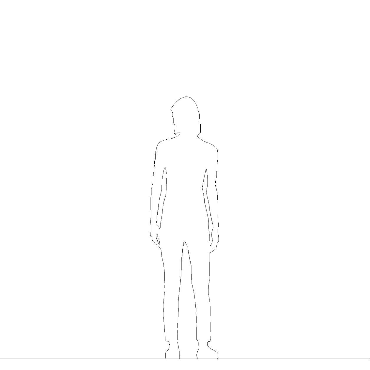 チノパンを穿いた女性の2DCAD部品丨シルエット 人間 女性丨無料 商用可能 フリー素材 フリーデータ丨データ形式はAUTOCAD DWG・DXFファイルです