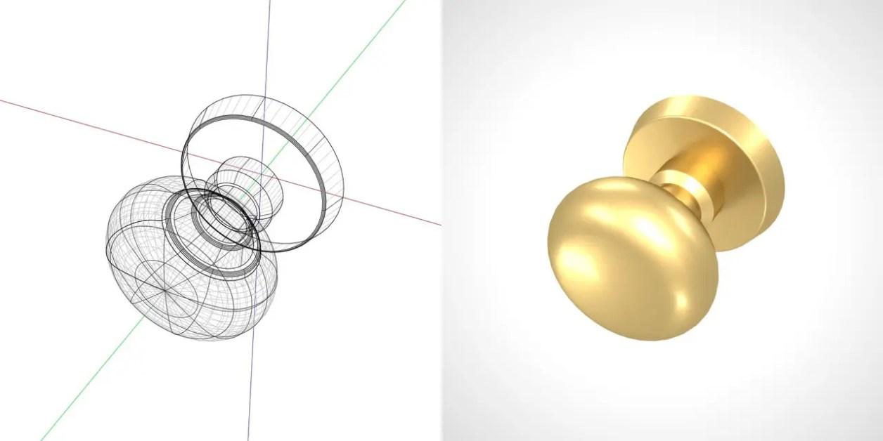 ゴールドのドアノブの3DCADデータ丨建築 建具金物 ドアノブ丨無料 商用可能 フリー素材 フリーデータ丨データ形式はformZ ・3ds・objファイルです|【無料・商用可】2D・3D CADデータ フリーダウンロードサイト