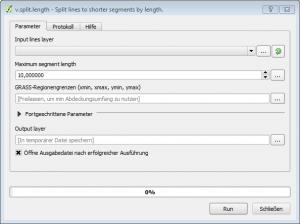 Anwendungsfenster von v.split.length, einer GRASS GIS Funktionalität zum gleichmäßigen Aufteilen von Linienshapes