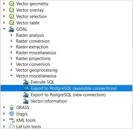 Export to PostgreSQL processing