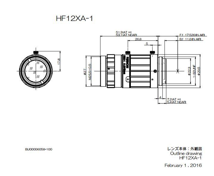 Navitar Machine Vision HF12XA-1 12 mm EFL Fujinon 2/3