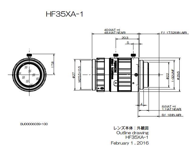 Navitar Machine Vision HF35XA-1 35 mm EFL Fujinon 2/3