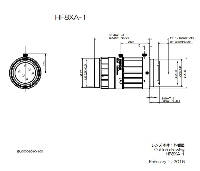 Navitar Machine Vision HF8XA-1 8 mm EFL Fujinon 2/3