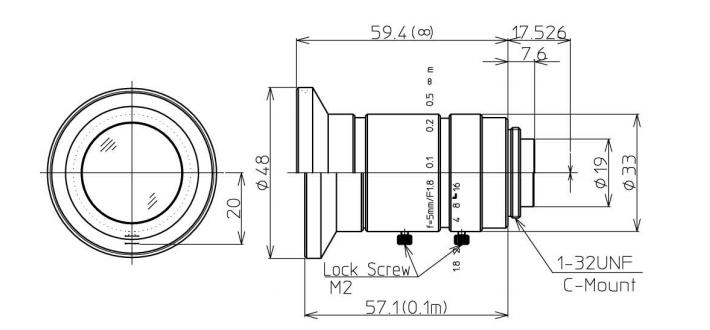 Navitar Machine Vision 1-19552 5 mm F/1.8 2/3
