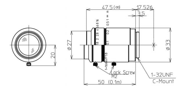 Navitar Machine Vision 1-19555 16 mm F/1.8 2/3