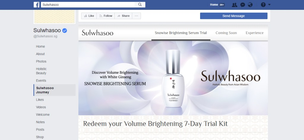 Screen grab of the Facebook App for Sulwhasoo Holistic Beauty - App Development