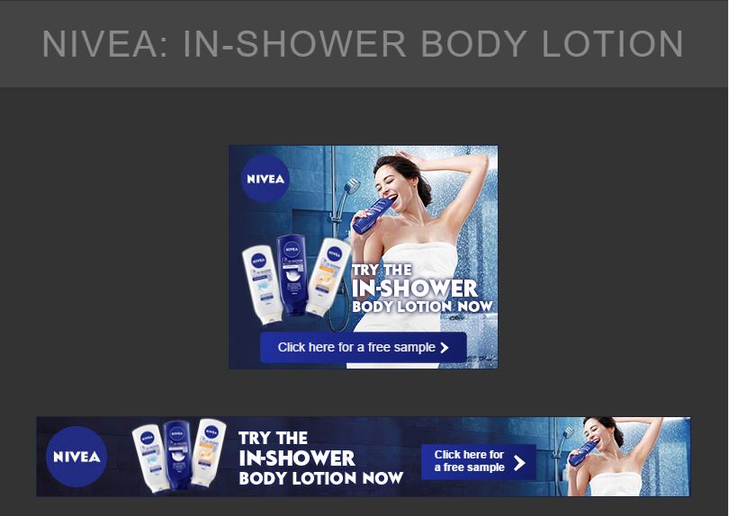 A set of GDN Banner Ads for Nivea In Shower Body Lotion - Digital Advertising