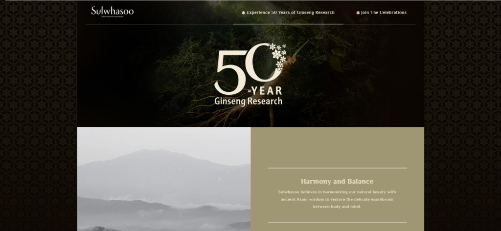 Screen grab of the Sulwhasoo Microsite - Web Design & Development