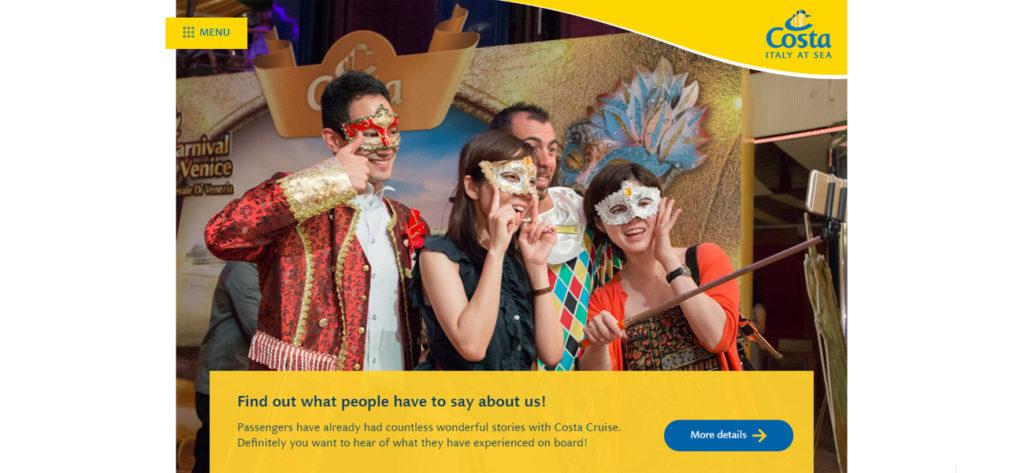 Screen grab of the Costa Asia Website - Web Design & Development