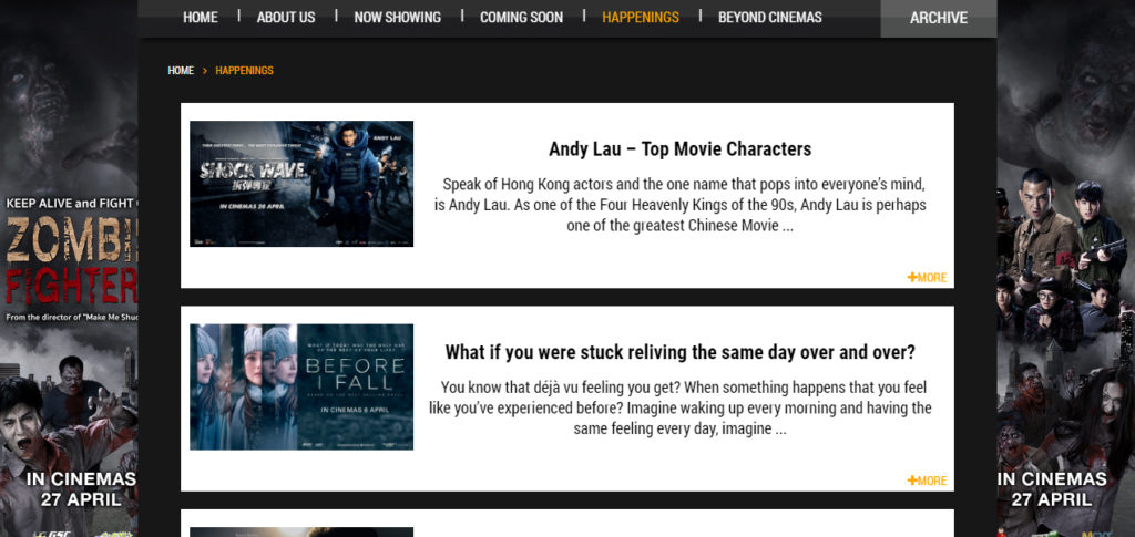 Screen grab of the GSC Movies Website Events Page - Web Design & Development