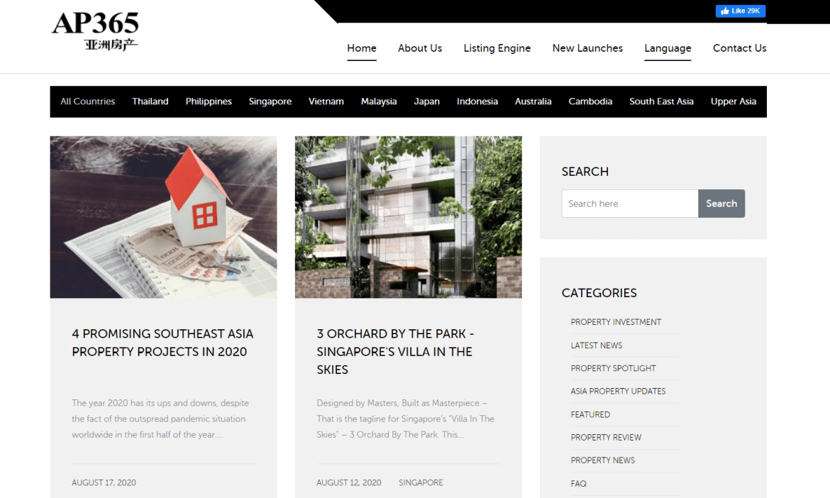 Screen grab of the Asia Property Website Homepage - Web Design & Development