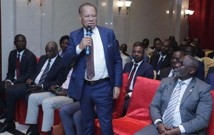 Lin Mombo; le président de l'ARCEP Gabon, et Alex Bernard Bongo Ondimba, le DG de l'ANINF.