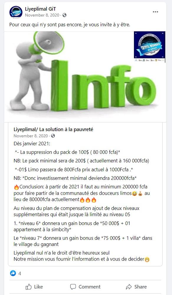 Liyeplimal FaceBook Post