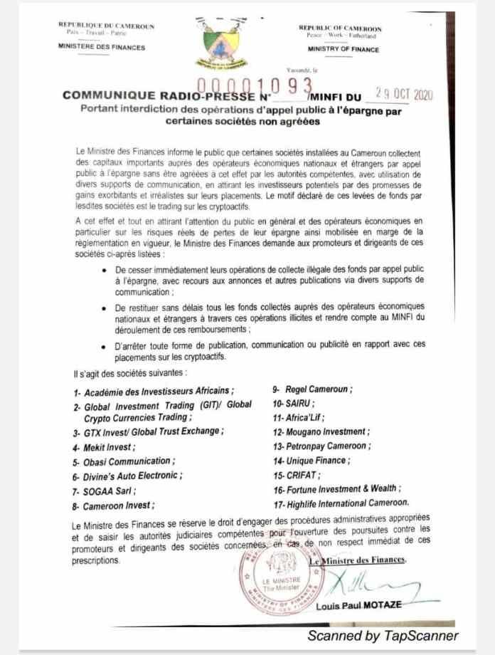 Le minfi interdit les sociétés de cryptomonnaies au Cameroun