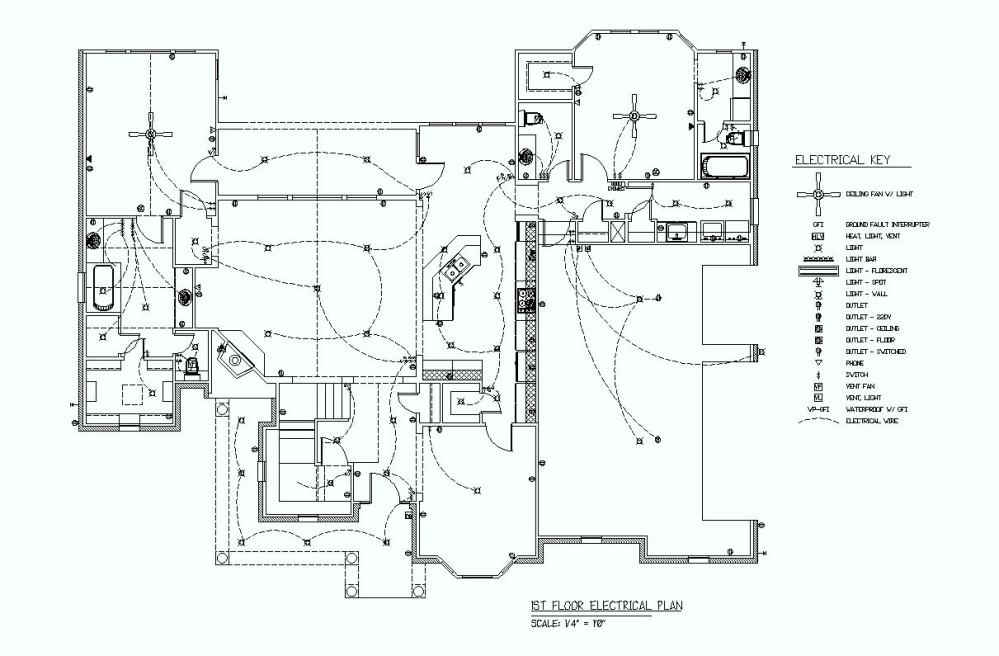 medium resolution of black and white electrical plan with key