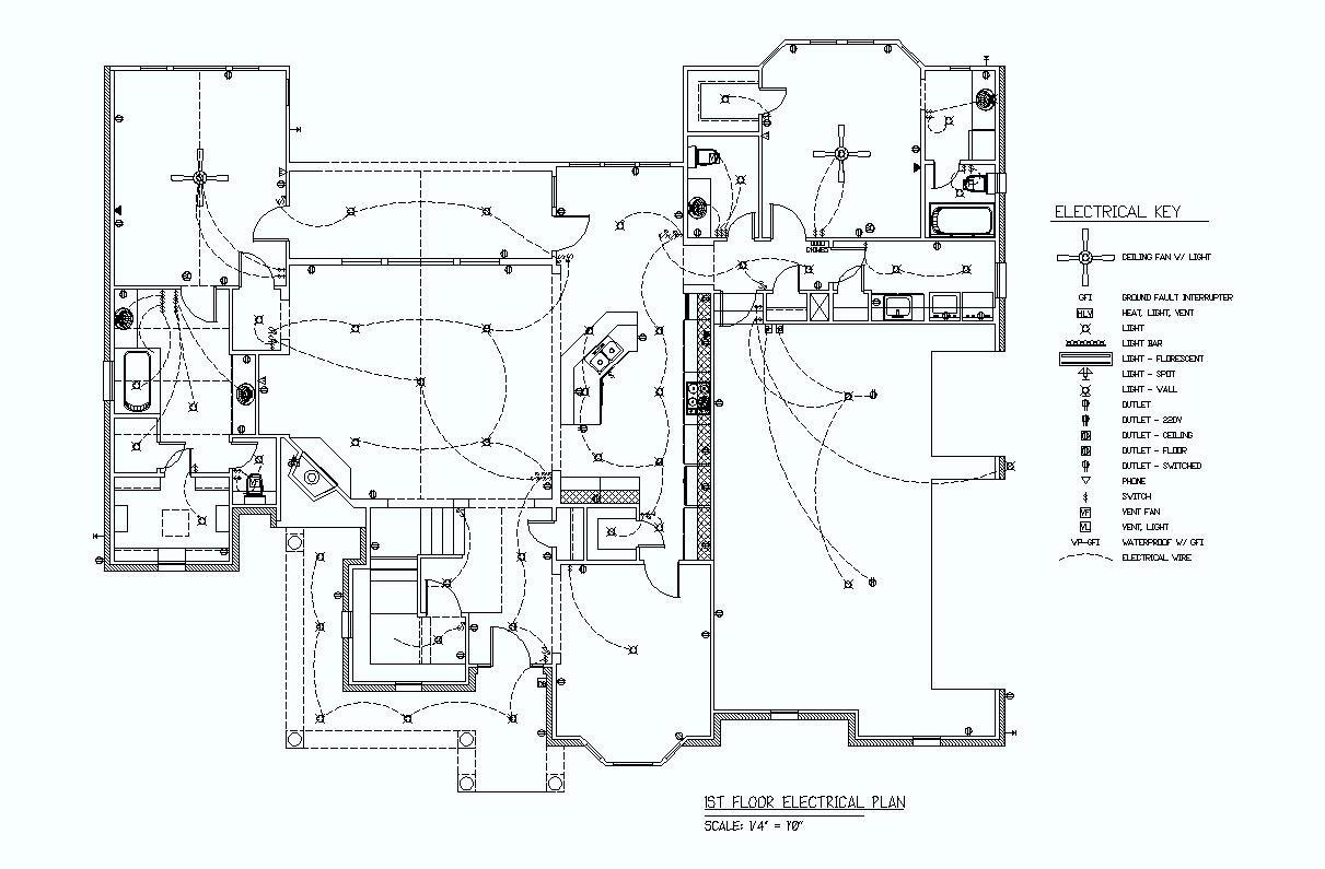 hight resolution of black and white electrical plan with key
