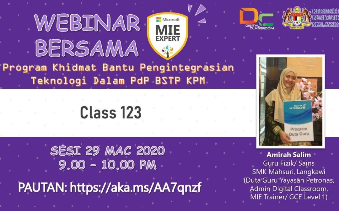 e-Pembelajaran Class 123 Bersama Amirah Salim, Duta Yayasan Petronas
