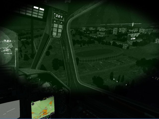 Outside cockpit view through night vision goggles
