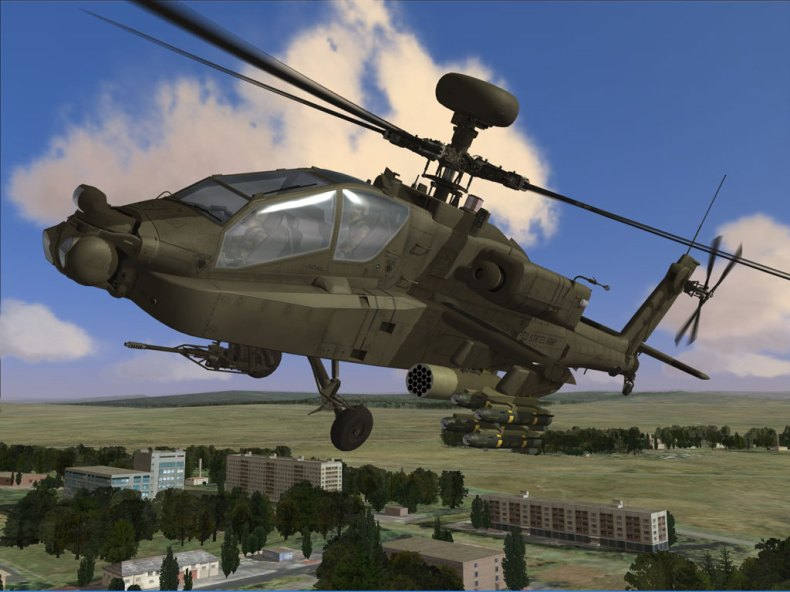 AI Helicopter AH-64A in action