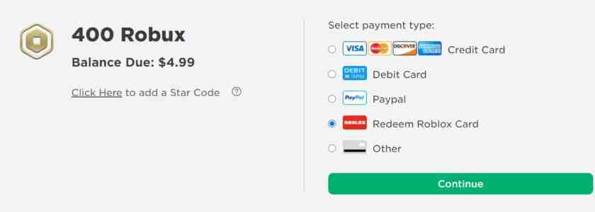 400 robux payment page