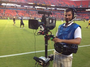 Jorge operating the Steadicam at the 2013 Guinness International Champions Cup