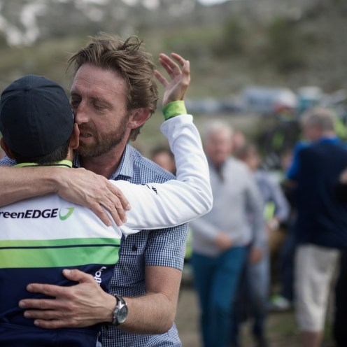 emotional reunion between DS Matt White & Johan Esteban Chaves (COL/Orica-GreenEDGE) after the race & after losing the Maglia Rosa on the last stage (that mattered) stage 20: Guillestre (FR) - Sant'Anna di Vinadio (IT) 134km 99th Giro d'Italia 2016