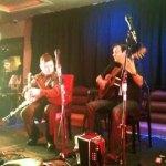 Tim Edey on Guitar and Darragh Ó Héiligh on Uilleann pipes in the Harcourt hotel.